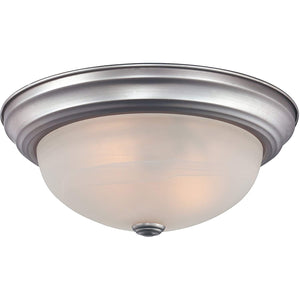 "MANOR 2 LIGHT 13"" WIDE FLUSH MOUNT CEILING FIXTURE WITH WHITE ALABASTER SHADE#MNR1613BN"