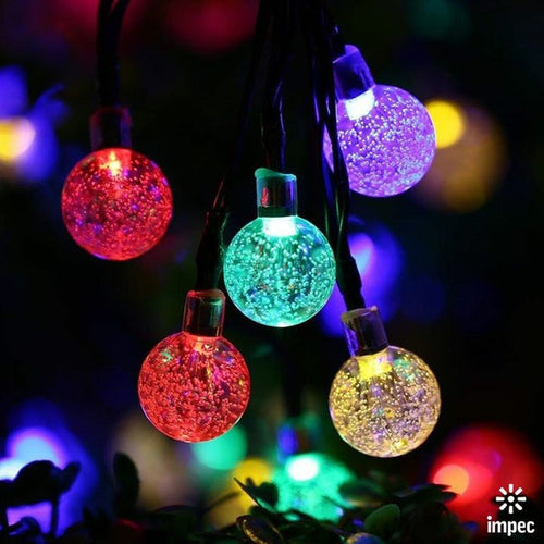 LED SOLAR RGB CHRISTMAS OUTDOOR CRYSTAL BALL STRING LIGHTS 21 FT / 30 LEDS