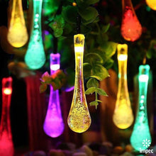 LED SOLAR RGB CHRISTMAS OUTDOOR WATER DROP STRING LIGHTS 21 FT / 30 LEDS