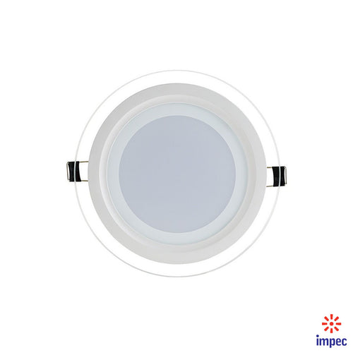 12W LED GLASS ROUND RECESSED DIMMABLE PANEL LIGHT 6000K 960LM