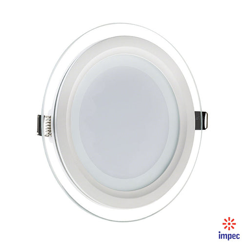 18W LED GLASS ROUND RECESSED DIMMABLE PANEL LIGHT 6000K 1440LM