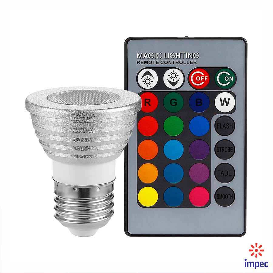 3W MR16 E27 85-265V RGB COLOR CHANGING LED BULB