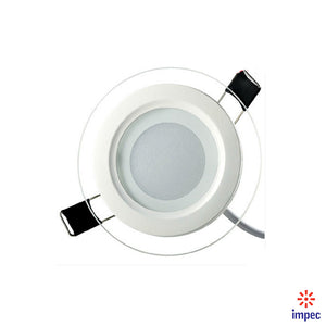 6W LED GLASS ROUND RECESSED DIMMABLE PANEL LIGHT 6000K 480LM