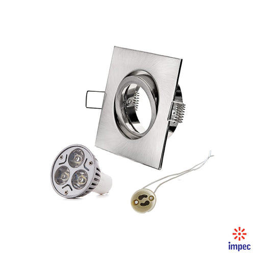 3W LED GU10 BRUSHED NICKEL SQUARE RECESSED LIGHTING KIT WARM WHITE