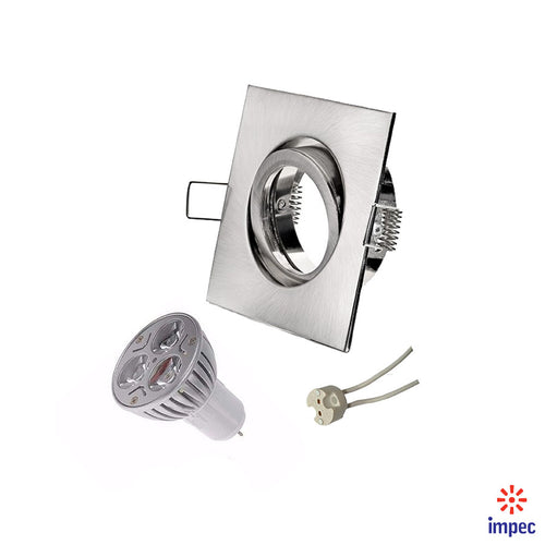 3W LED GU5.3 BRUSHED NICKEL SQUARE RECESSED LIGHTING KIT WARM WHITE