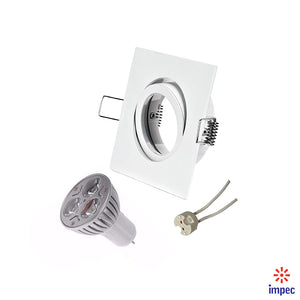 3W LED GU5.3 WHITE SQUARE RECESSED LIGHTING KIT WARM WHITE