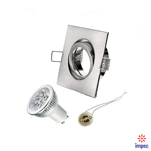 4W LED GU10 DIMMABLE BRUSHED NICKEL SQUARE RECESSED LIGHTING KIT WARM WHITE