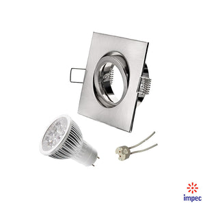 4W LED GU5.3 DIMMABLE BRUSHED NICKEL SQUARE RECESSED LIGHTING KIT WARM WHITE