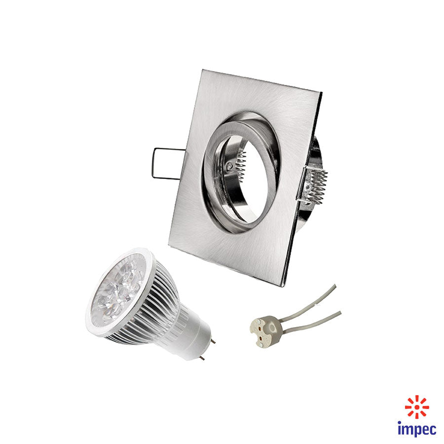 4W LED GU5.3 DIMMABLE BRUSHED NICKEL SQUARE RECESSED LIGHTING KIT DAY LIGHT