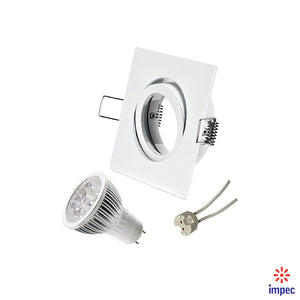 4W LED GU5.3 DIMMABLE WHITE SQUARE RECESSED LIGHTING KIT WARM WHITE