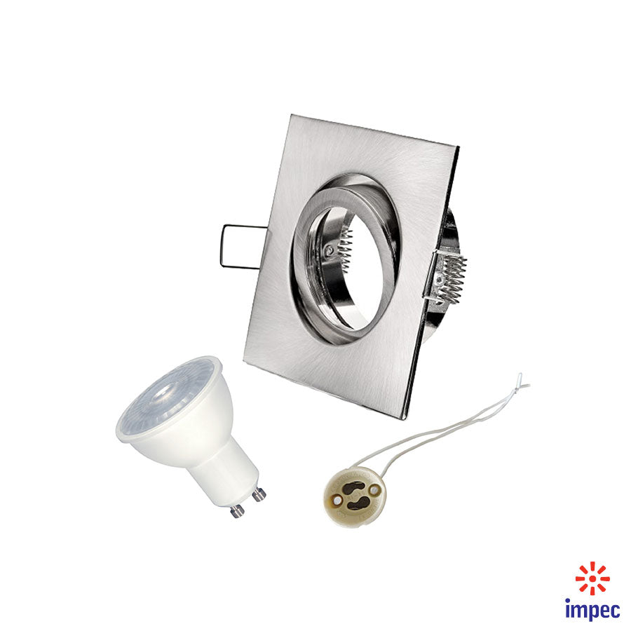6.5W LED GU10 DIMMABLE BRUSHED NICKEL SQUARE RECESSED LIGHTING KIT WARM WHITE