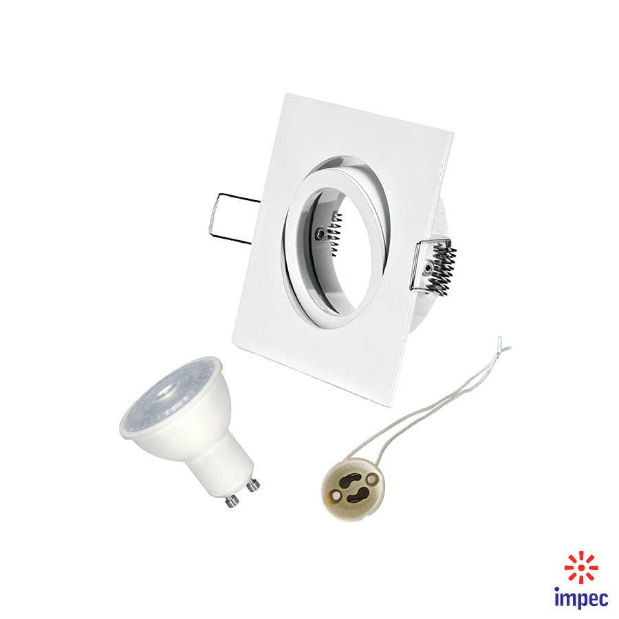 6.5W LED GU10 DIMMABLE #S9385 + WHITE SQUARE RECESSED LIGHTING NATURAL LIGHT 5000K