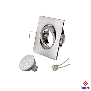 6.5W LED GU5.3 DIMMABLE BRUSHED NICKEL SQUARE RECESSED LIGHTING KIT DAY LIGHT