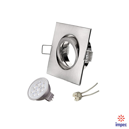 6.5W LED GU5.3 DIMMABLE BRUSHED NICKEL SQUARE RECESSED LIGHTING KIT WARM WHITE