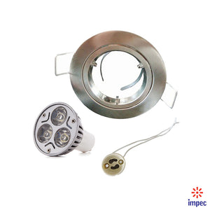 3W LED GU10 BRUSHED NICKEL ROUND RECESSED LIGHTING KIT WARM WHITE