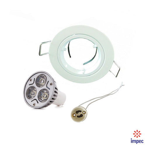 3W LED GU10 WHITE ROUND RECESSED LIGHTING KIT WARM WHITE