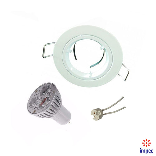 3W LED GU5.3 WHITE ROUND RECESSED LIGHTING KIT WARM WHITE