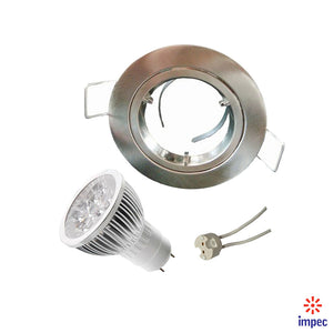 4W LED GU5.3 DIMMABLE BRUSHED NICKEL ROUND RECESSED LIGHTING KIT WARM WHITE