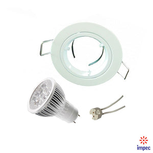 4W LED GU5.3 DIMMABLE WHITE ROUND RECESSED LIGHTING KIT DAY LIGHT