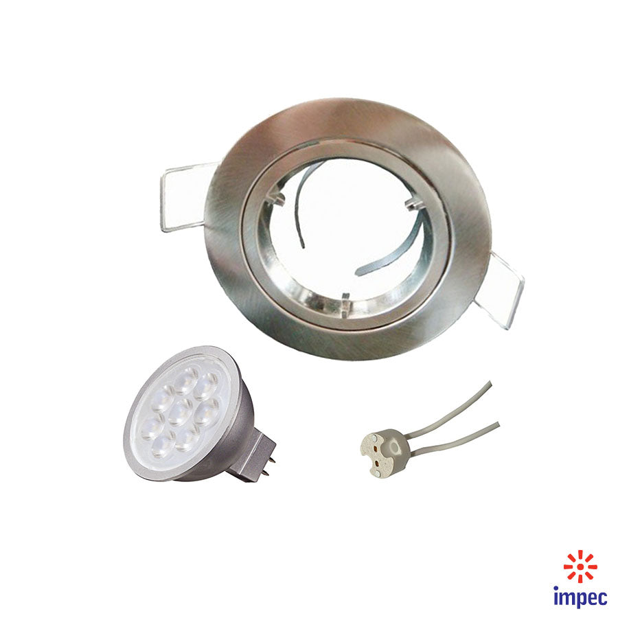 6.5W LED GU5.3 DIMMABLE BRUSHED NICKEL ROUND RECESSED LIGHTING KIT DAY LIGHT