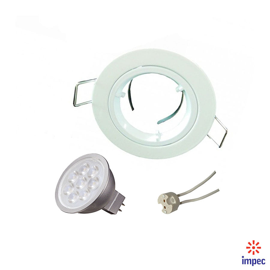6.5W LED GU5.3 DIMMABLE WHITE ROUND RECESSED LIGHTING KIT WARM WHITE
