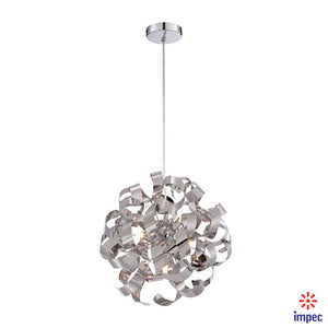 "RIBBONS 5 LIGHT 17"" POLISHED CHROME PENDANT CEILING LIGHT #RBN2817C"