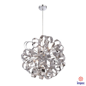 "RIBBONS 12 LIGHT 23"" POLISHED CHROME FOYER PENDANT CEILING LIGHT #RBN2823C"