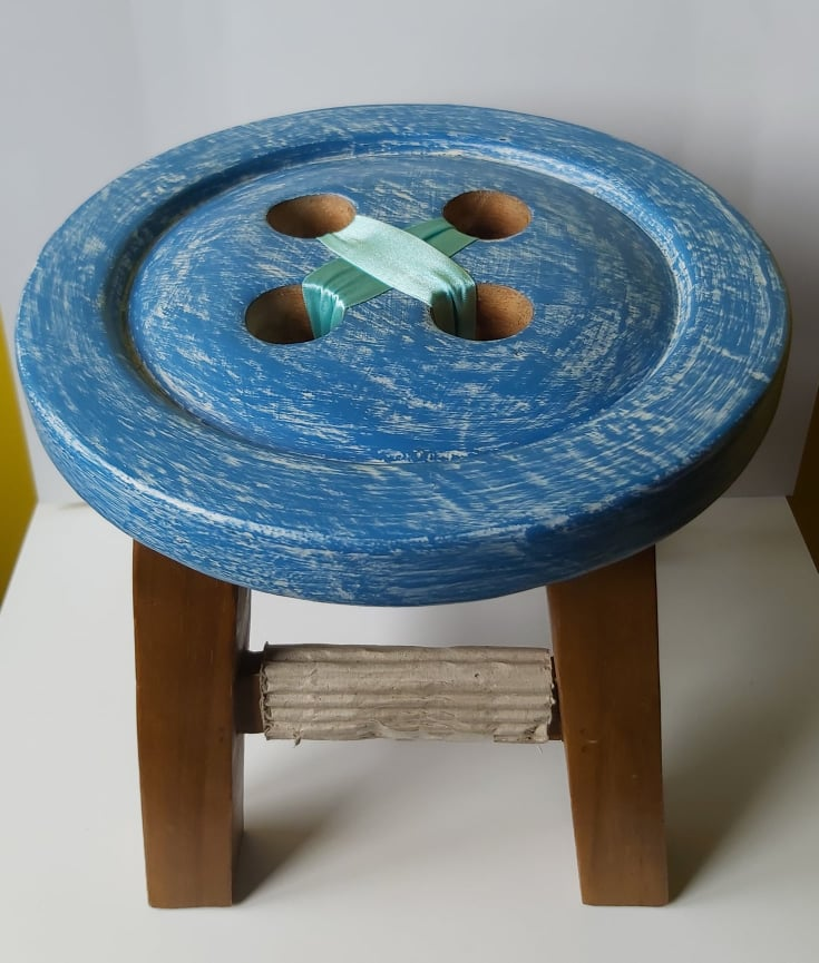 Button Stool in blue