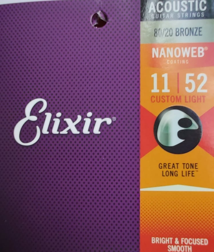 Elixir Accoustic Guitar Strings 11-52 Nanoweb