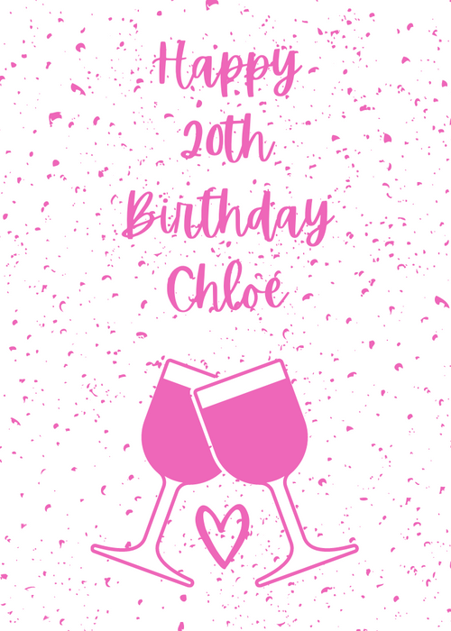 Wine Bottle Label | Pink Splash Design | Happy Birthday Sticker | Wine Bottle Sticker
