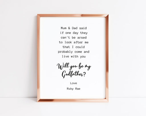 Godparent Print | Will You Be My Godmother/Godfather | Funny Print | Godparent Gift