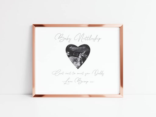 Fathers Day Print | Daddy Print | Can't Wait To Meet You, Love Bump | Personalised Daddy Print | Daddy Gift | Scan Photo Gift