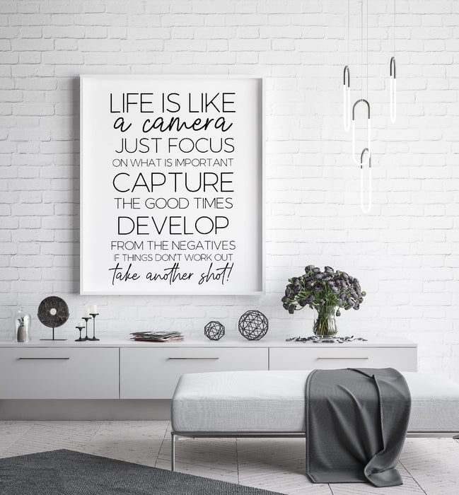 Quote Print | Life Is Like A Camera | Quote Print