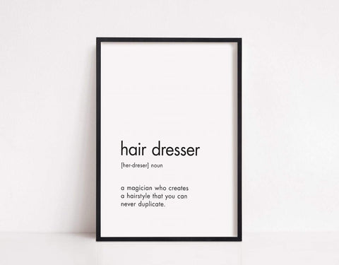 Salon Print | Hairdresser Noun | Hairdressing Print - Dinky Designs