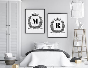 Bedroom Prints | Personalised Initial Crown Design - Dinky Designs