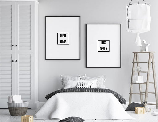 Bedroom Prints | Her One, His Only | Set Of 2 Prints | Couples Print