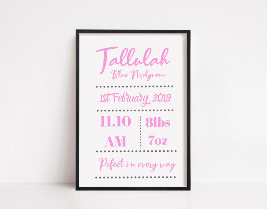 Personalised Baby Print | New Baby Birth Print | New Baby Gift