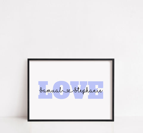 Love Print | Personalised Couples Name Print | Couples Gift