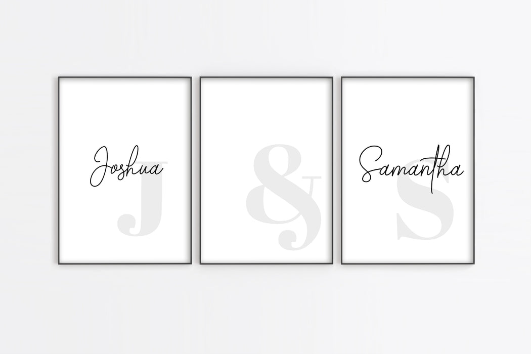 Couple Print | Personalised Name Gift | Set Of 3 Prints | Anniversary Gift | Wedding Gift