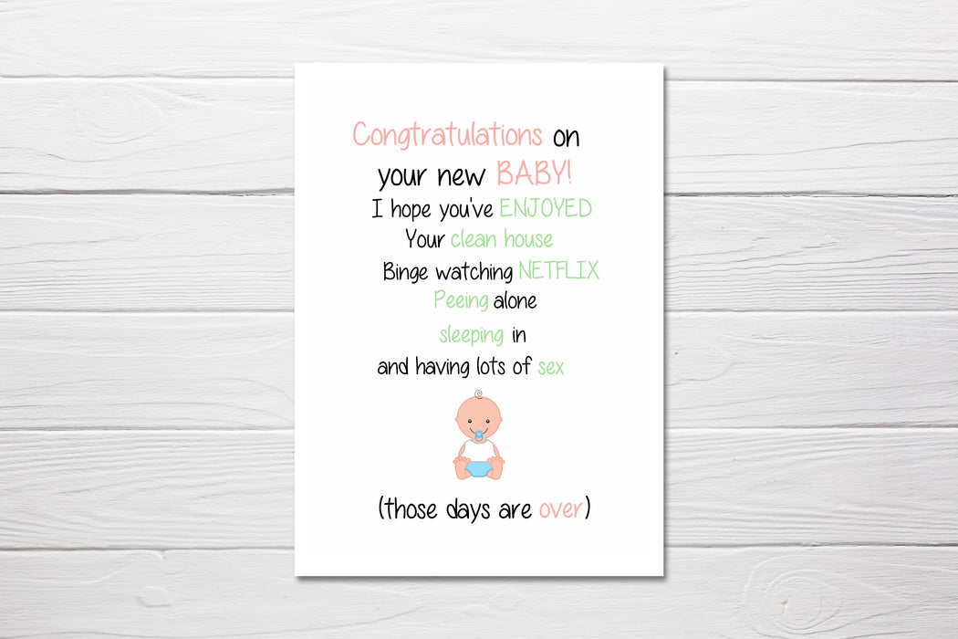 New Baby Card | Congratulations On The New Baby | Funny Card