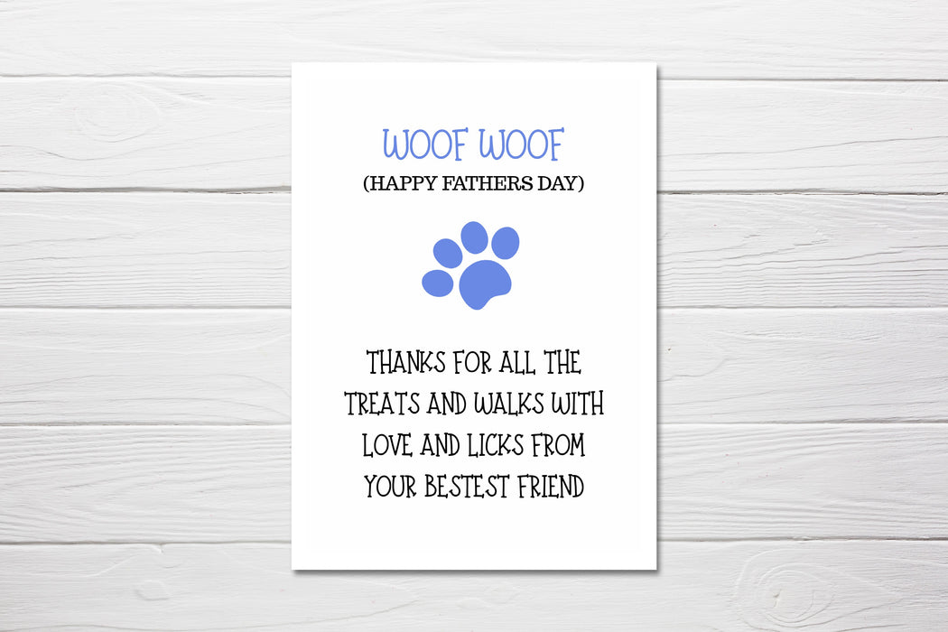 Fathers Day Card | ''Woof Woof'' Happy Father's Day Card | Pet Card