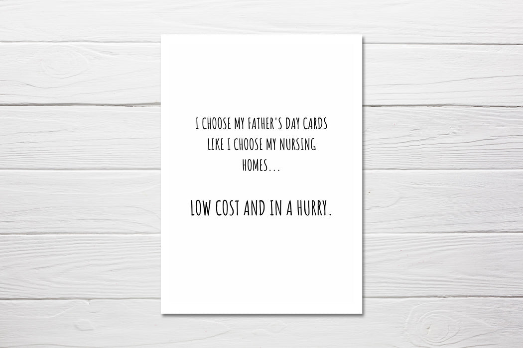 Father's Day Card | Nursing Home | Funny Card | Joke Card