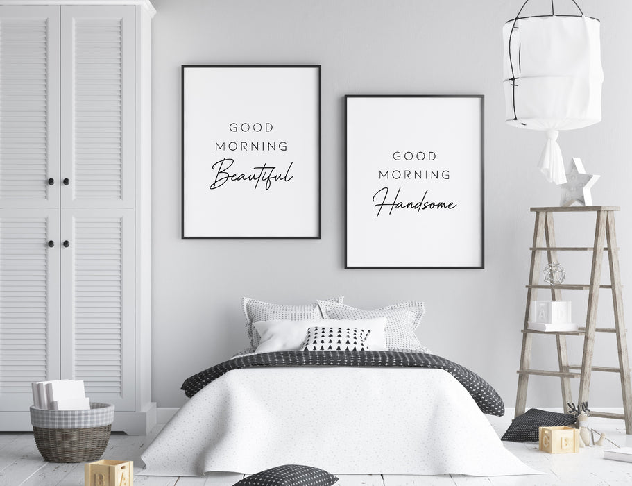 Bedroom Prints | Good Morning Beautiful, Good Morning Handsome | Set of 2 Prints
