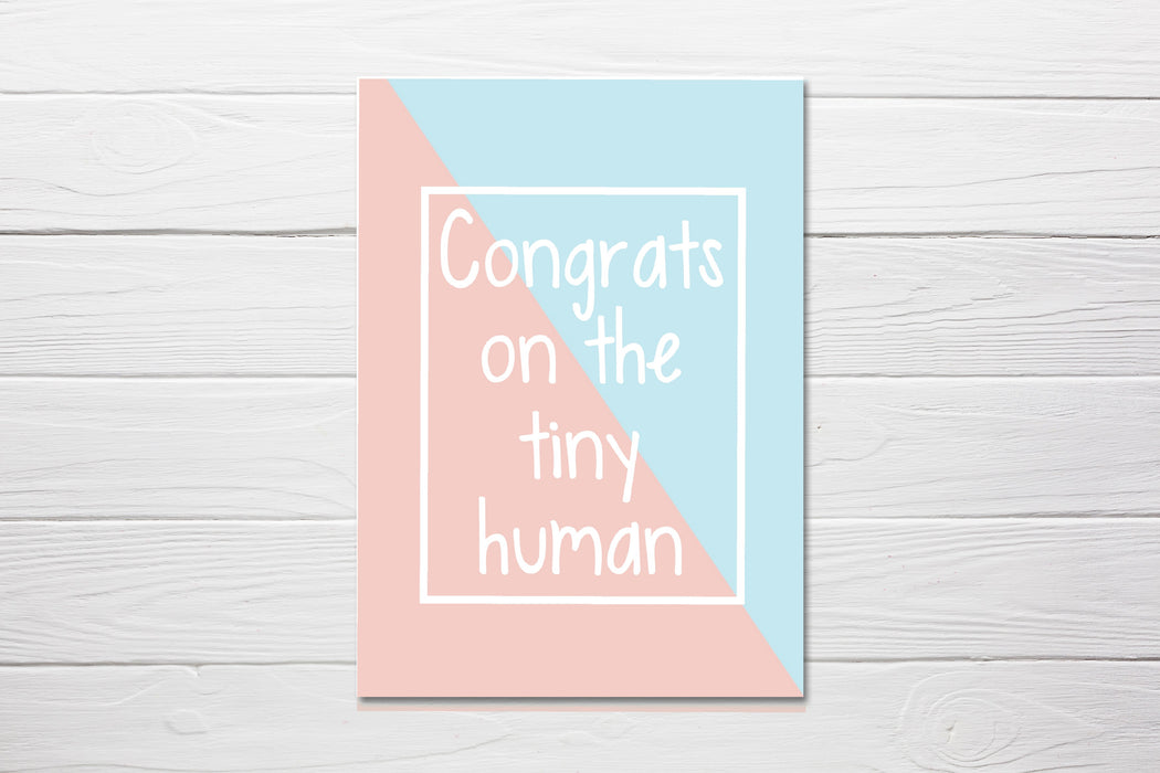 New Baby Card | Congrats On The Tiny Human | Baby Shower Card