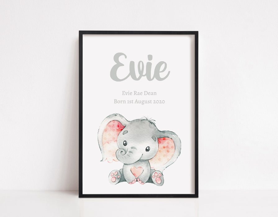 Nursery Print | Personalised Name Elephant Print | Children's Print