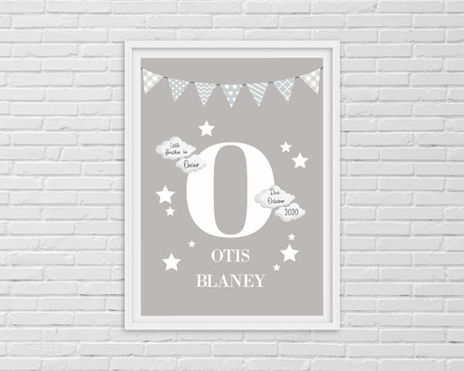 Nursery Print | Personalised Grey Initial/Name Print | Newborn Gift | New Baby Gift