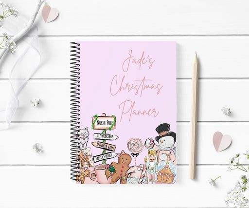 Personalised Christmas Planner | Pink Christmas Notebook