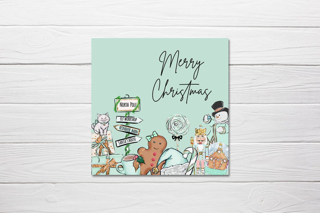 Christmas Card | Mint Green Winter Wonderland Theme | Pack Of 10