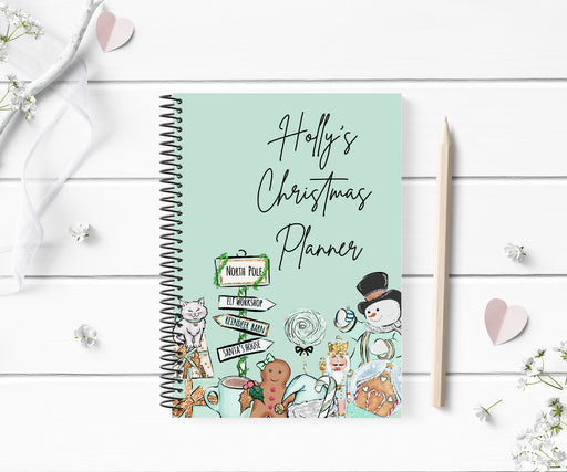 Personalised Christmas Planner | Mint Green Christmas Notebook