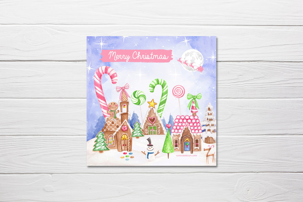 Christmas Card | Gingerbread Land Theme | Pack Of 10